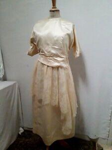 Ancienne Robe de mariée écrue soie & dentelle Chantilly 1910 1920 T.38 ou S