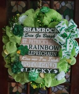 St Patricks Day Garland Clover Ribbon Wreath Decorations for Front Door