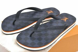 Louis Vuitton Damier Cobalt Molitor Thong Size 7 Flip Flops Sandals Box D3780