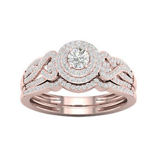 10k Rose Gold 1/2ct TDW Diamond Halo Bridal Set