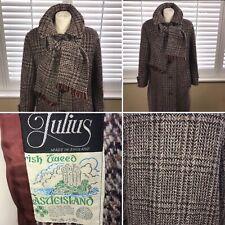 Vintage Julius Size M 10 12 Brown Irish 100% Wool Tweed Long Coat Womens England