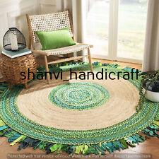 Round Braided Natural 4x4 Feet Jute Cotton Handmade Woven Floor Carpet Area Rugs