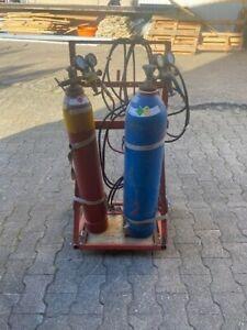 1 Paar gebr Gasflaschen Acetylen und Sauerstoff inkl. Schlauch und Flaschenwagen