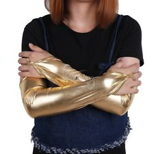 Women Lady Wetlook Shiny Stretchy Fingerless Long Gloves for Party Club Costume