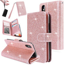 Luxury Leather Bling Glitter Wallet Case Card Slots Stand for i Phone X 8/7 Plus