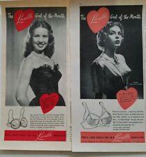Lot 2 women's Lovable girl of month bra Miss Virginia Clark Beall Baldwin ad ads