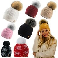 Women Winter Beanie Hat Knitted Chunky Braid Style Pom Pom Ladies Faux Fur Hats