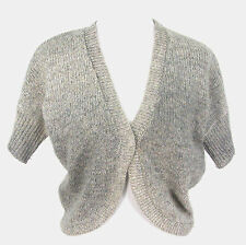 Chicos Shrug Sweater Sz 0 Wool Alpaca Crop Cardigan Gray Oatmeal Small S 4 / 6
