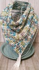 Blue green gray white triangle scarf cowl neck warmer crochet womans handmade