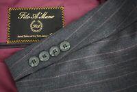 Tom James Filo A Mano Gray Pinstriped Wool 2 Piece Suit Jacket Pants Sz 42R
