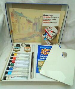 Rowney Oil Painting set - Tubes, Palette Brush Painting box / bundle set