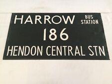 "London Harrow Vintage Linen Bus Blind 36""-186 Harrow Bus Station Hendon Central"