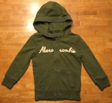 Abercrombie & Fitch Women's Green 3/4 Sleeve Hooded Sweatshirt (Hoodie) - Small