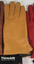 Leather Gloves Med Tan  Polyester Black Lining Thinsulate Inner Lining  NWT