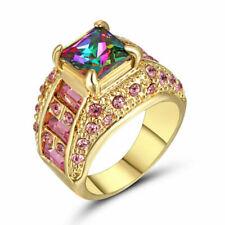 Size 8 Mystic Rainbow Topaz GEMSTONE Wedding Band Ring 10kt Yellow Gold Filled