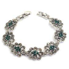 New Small Green Round Rhinestone Silver Plated Lady Girl 18 cm Bracelet Jewelry