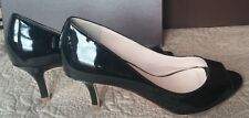 NIB Elie Tahari Black Patent Leather Peep-Toe Heels Size 38