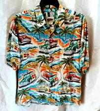 """REYN SPOONER """"Art of Eddy Y"""" Hawaiian Shirt XXL Blue w/ Woodies, Cruise Wear exl"""