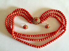 Antique EXCELLENTcond natural NO dye red round coral beads necklace earrings set