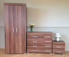 Bedroom Furniture Set *Walnut Effect* Wardrobe 4+4 Drawer Chest Bedside Cabinet
