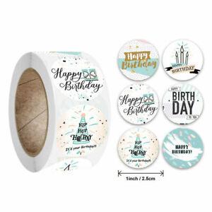 Round HAPPY BIRTHDAY Multi Gift Present Craft Label Birthday Party Stickers