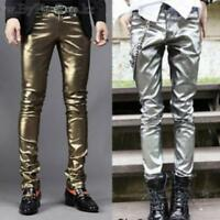 Mens Slim Gothic Costume Pants Stage Faux Leather Skiny Outwear Stylish Trousers