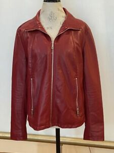 Kenneth Cole Reaction Red Faux Leather Jacket Women's Size XL