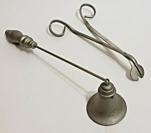VTG Home Interiors Pewter Candle Snuffer and Wick Trimming Scissors