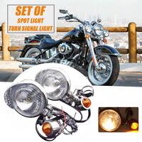 2x Motorrad Roller Nebelscheinwerfer mit Blinker Chrom für Harley Yamaha Suzuki