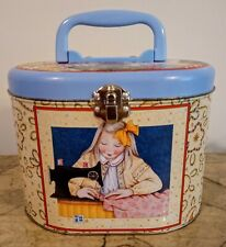 Mary Engelbreit Collectable Sewing Tin Hinged Lid, Latch and Plastic Handle