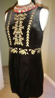 H&M Black & Gold Embroidered Velvet Party Evening Smart Dress, Size EU 34, UK 8