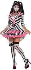 Ladies 4 Piece Sexy Harlequin Clown Halloween Circus Fancy Dress Costume Outfit