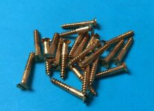 """20 Solid Brass Countersunk Slotted Wood Screws 4g x 3/4"""" British Made"""