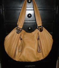 Designer B. Makowsky Tan Leather Zipper Hobo Tote Shoulder Bag Handbag Purse S
