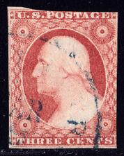 #11A - 3 Cent 1851-7, 61L2L, Watt-plated, 2 lines recut ULT, Rose Red, offset