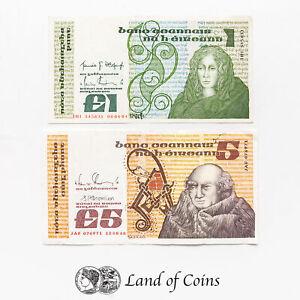 IRELAND: Set of 2 Irish Punt Banknotes.