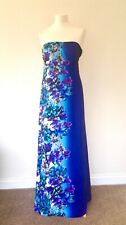 Monsoon Maxi Dress 14 Porto Bay Tropical Purple Blue Floral Cruise Wedding Party