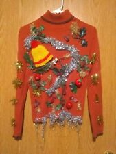 Handmade by Child Size Petite Large Ugly Christmas Sweater Party Burnt Orange