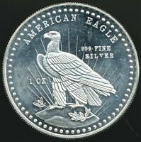 "Vintage 1981 ""American Eagle"" 1 Oz .999 Fine Silver Art Round World Wide Mint"