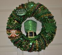 St Patricks Day Wreath - One Of A Kind Handmade with Mardi Gras Beads