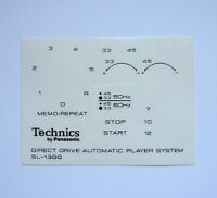 Technics decal stickers SL-1300 turntable set - Printed BLACK - Very RARE