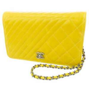 CHANEL Cocoboy W Stitch Chain Wallet Leather Yellow