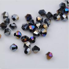 100pcs swarovski Crystal 4mm 5301# Bicone Beads black ab