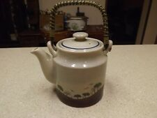 Royal Shillah Teapot Copper & bamboo handle countryside landscape earth ceramic
