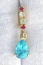 14Kt REAL Yellow Gold 9x7 Pear Apatite Ruby Sapphire Gem Open Bail Pendant 4968