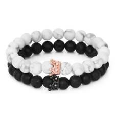 2Pcs/Set Couples Bracelet for Men Women King and Queen Bracelets with Crown Lava
