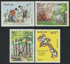 LAOS N°927/930** Arbres, Forêt  TB, 1989 Trees, forest Sc# 942-945 MNH