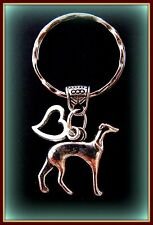 GREYHOUND Dog w/Heart JEWELRY KEYCHAIN - Art Deco Retro Style Dog Pup Puppy