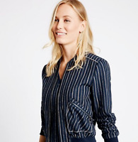M&S Ladies Bomber Jacket Blue Striped Bomber 22 BNWT Marks