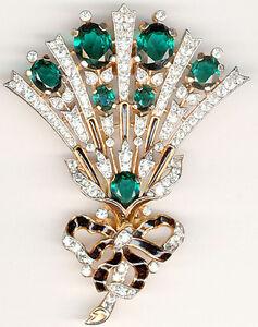 1.80ct NATURAL ROUND DIAMOND 14K SOLID YELLOW GOLD EMERALD GEMSTONE BROOCH PIN